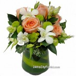 Champagne Rose in Vase Arrangement