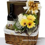 wine and chocolate basket