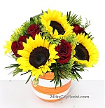 sunflower with rose arrangement