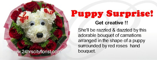 puppy bouquet