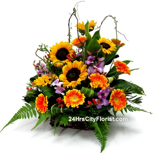 Flower shop delivery basket arrangement hrs city