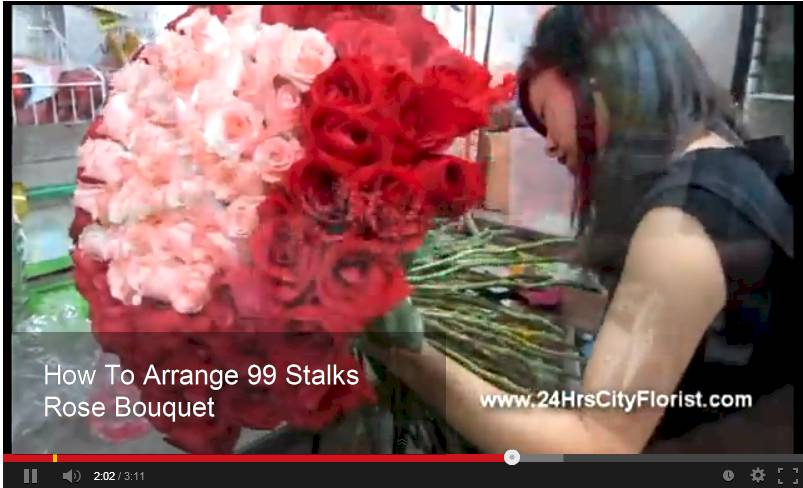 how to arrange 99 stalks rose hand bouquet