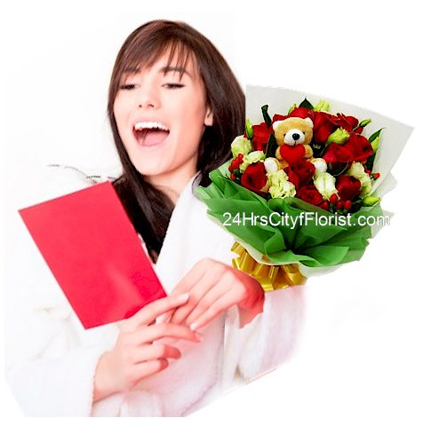 flowers with message card
