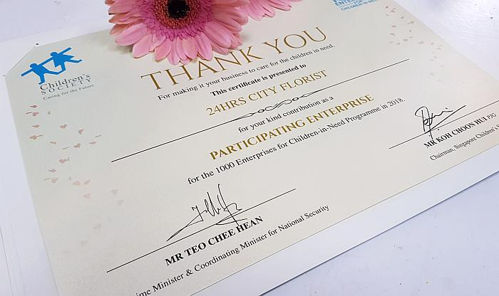 Certificate from Singapore Children Society