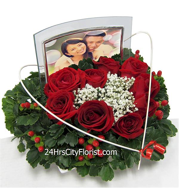 personalized photo flower arrangement