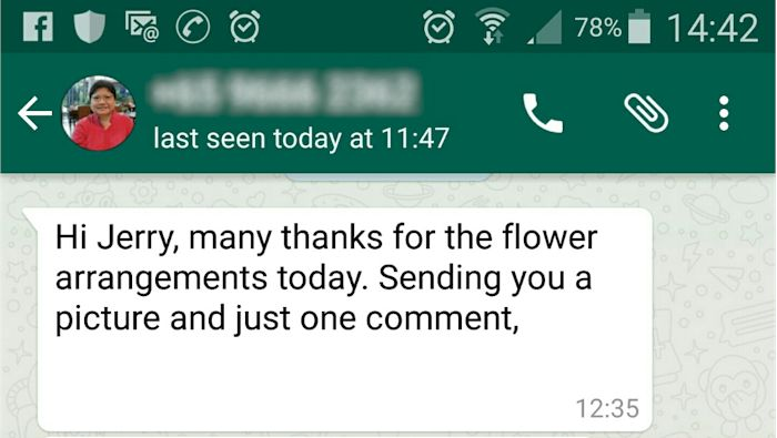 Whatapp from Happy Customer