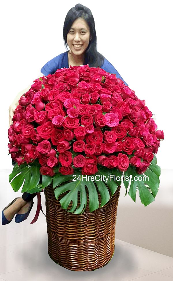 250 stalks red rose basket arrangement