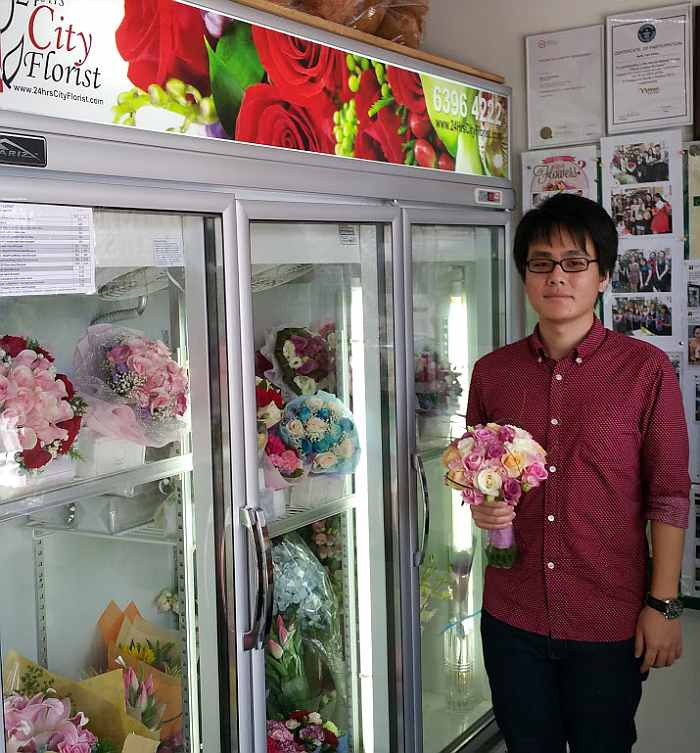 Devin with his ROM bouquet May 2016