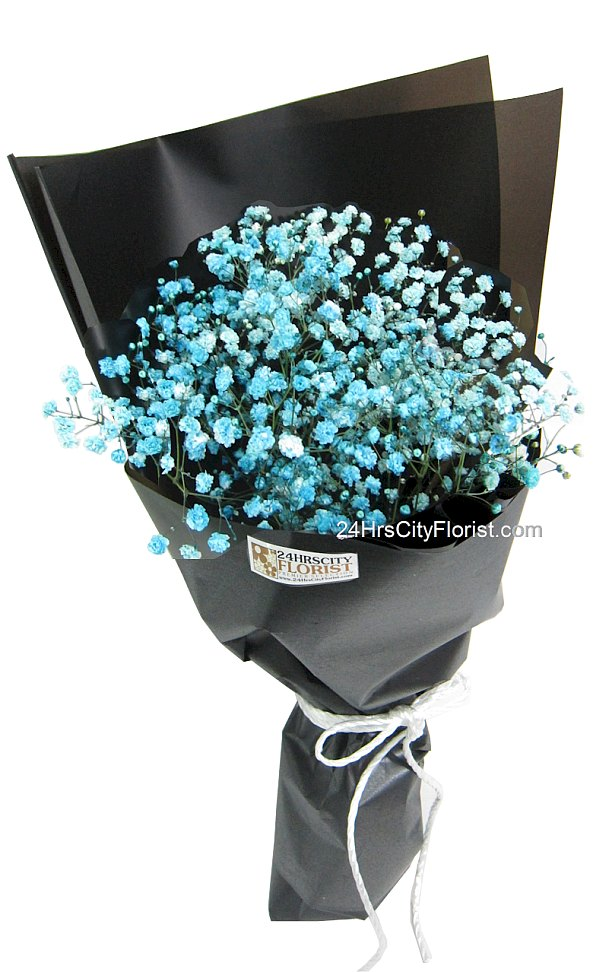 blue baby breath bouquet