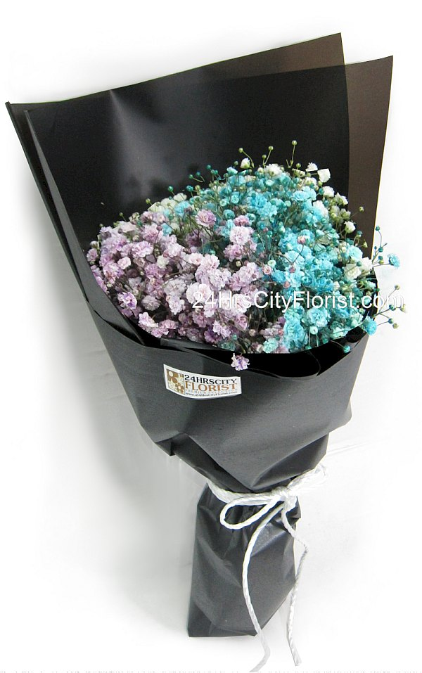 dyed coloured baby's breath bouquet