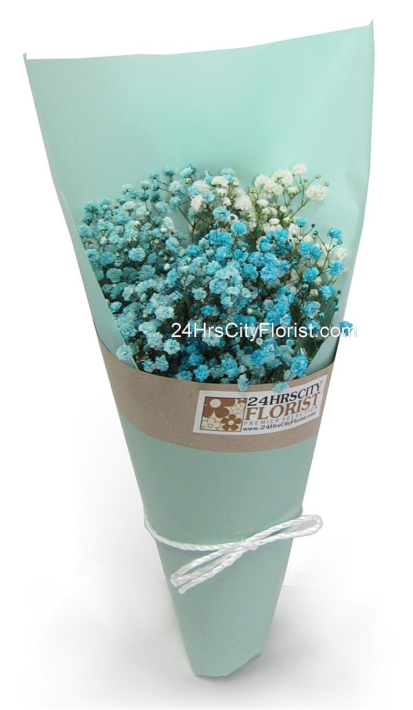 baby's breath bouquet in tiffany blue wrapper