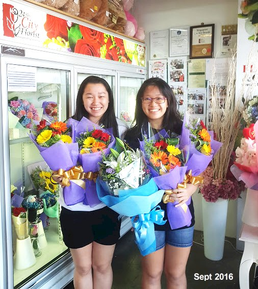 seekim with her bouquets