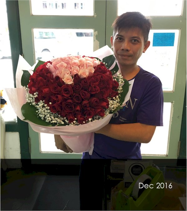 Kevin with his 99 stalks rose boquuet