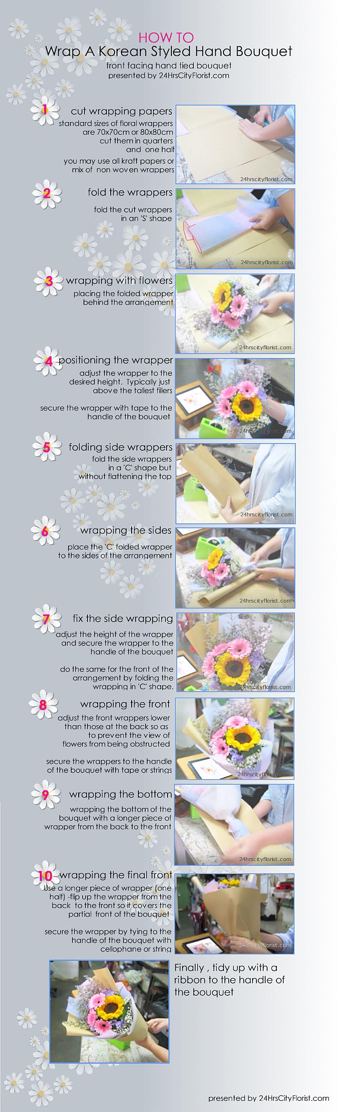 how to wrap a Korean styled hand bouquet