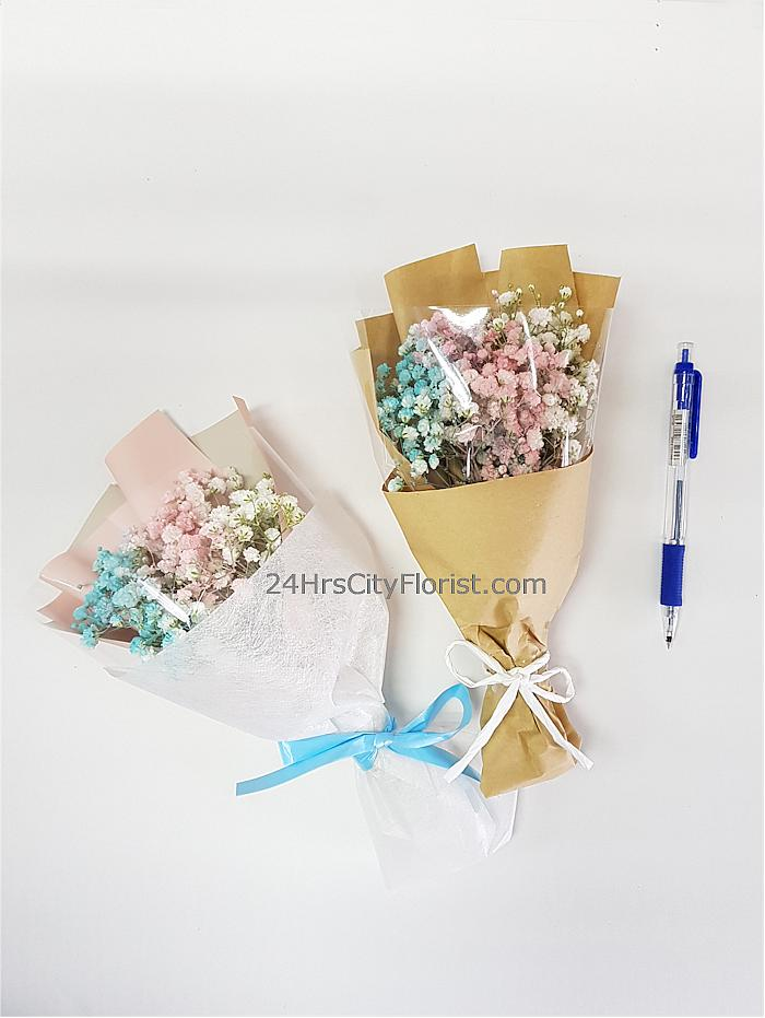 coloured mini baby's breath bouquet