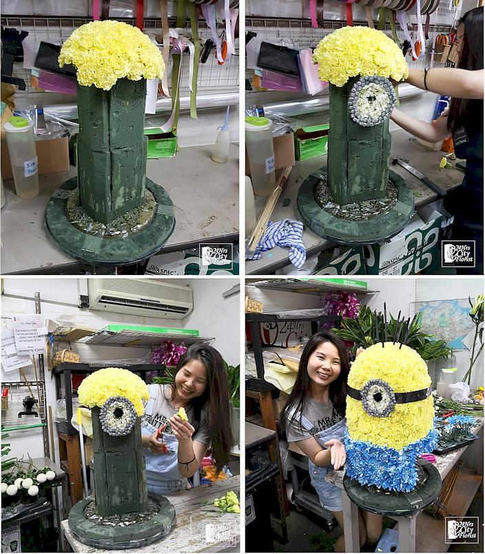Arranging giant flower minion