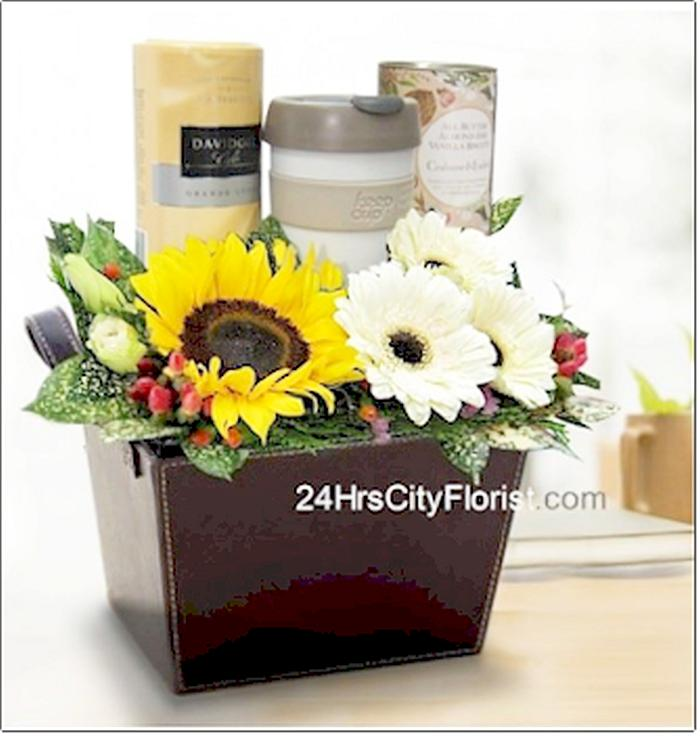 coffee gift set with flowers