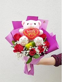 Pinky Bear (Red Rose..