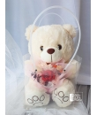 bear with rose bouquet