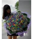 Colour My Life (99 rainbow rose bouquet)