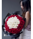 99 red and white rose bouquet