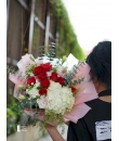 red rose with white hydrangea bouquet