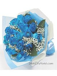 Blue Rose Hand Bouqu..