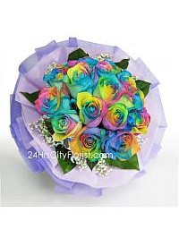Rainbow Rose Bouquet..