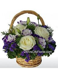 Eustoma Rose Basket..