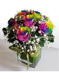 Rainbow Rose in Vase..