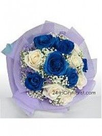 Blue White Rose Bouq..