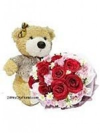 Rose and Bear Bouque..