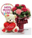 Carnation Bouquet With Bear - Mother's Day Special