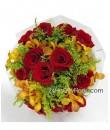 Mokara Orchid Rose Hand Bouquet