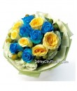 Flower Meadow - Blue & Yellow Rose Bouquet by 24Hrs City Florist