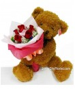B6 Beary Huggie Rose Bouquet