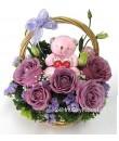 Basket Arrangement Purple Roses