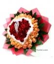 99 heart shaped rose valentine bouquet