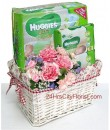 baby gift set with flowers