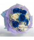 Blue White Rose Bouquet