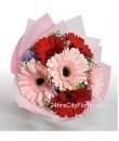 Gerbera Hand Bouquet Pink Red Valentine