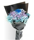 baby's breath with single blue rose bouquet