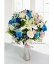 blue rose tall flower arrangement