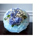 Ocean Blue Hydrangea Hand Bouquet