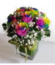 Rainbow Rose in Vase