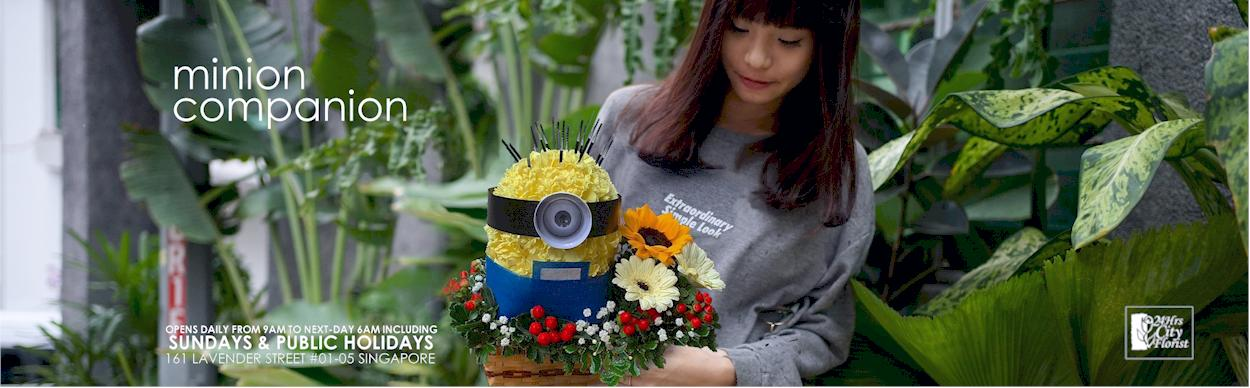 minion flower basket