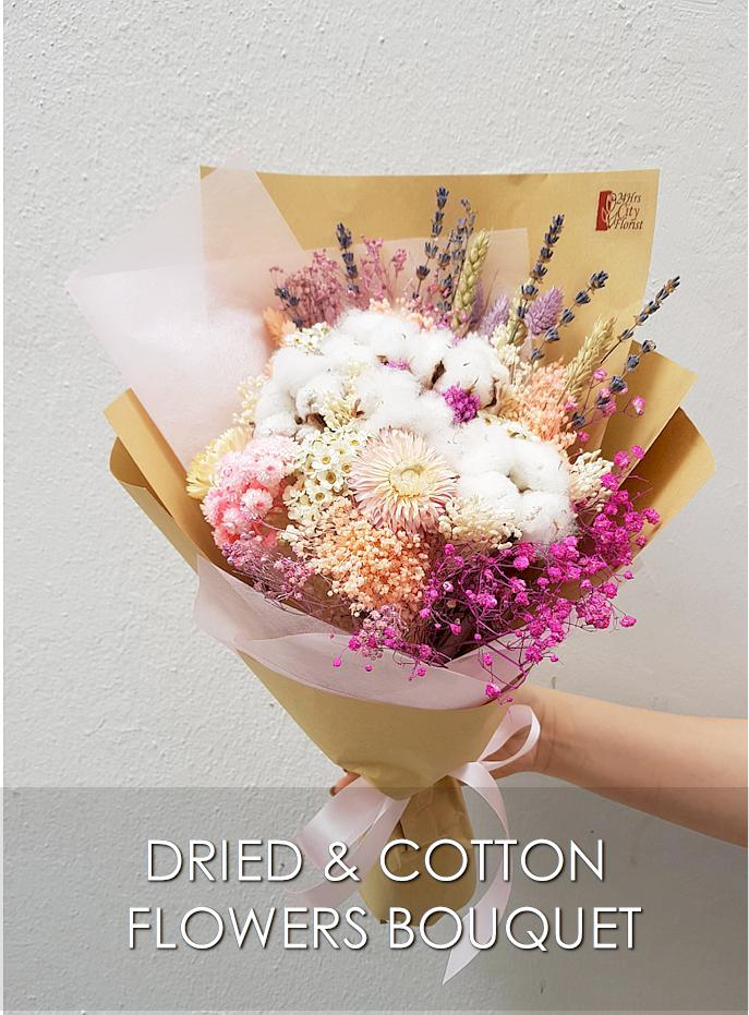 Dried Flower Cotton Bouquet  Valentine
