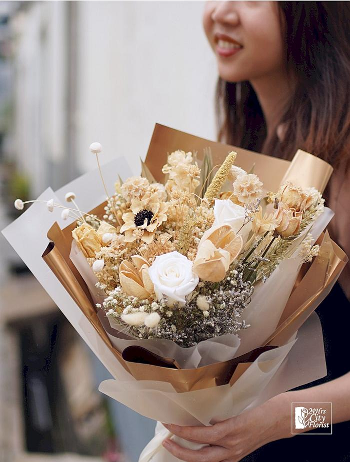 golden brown preserved flower bouquet