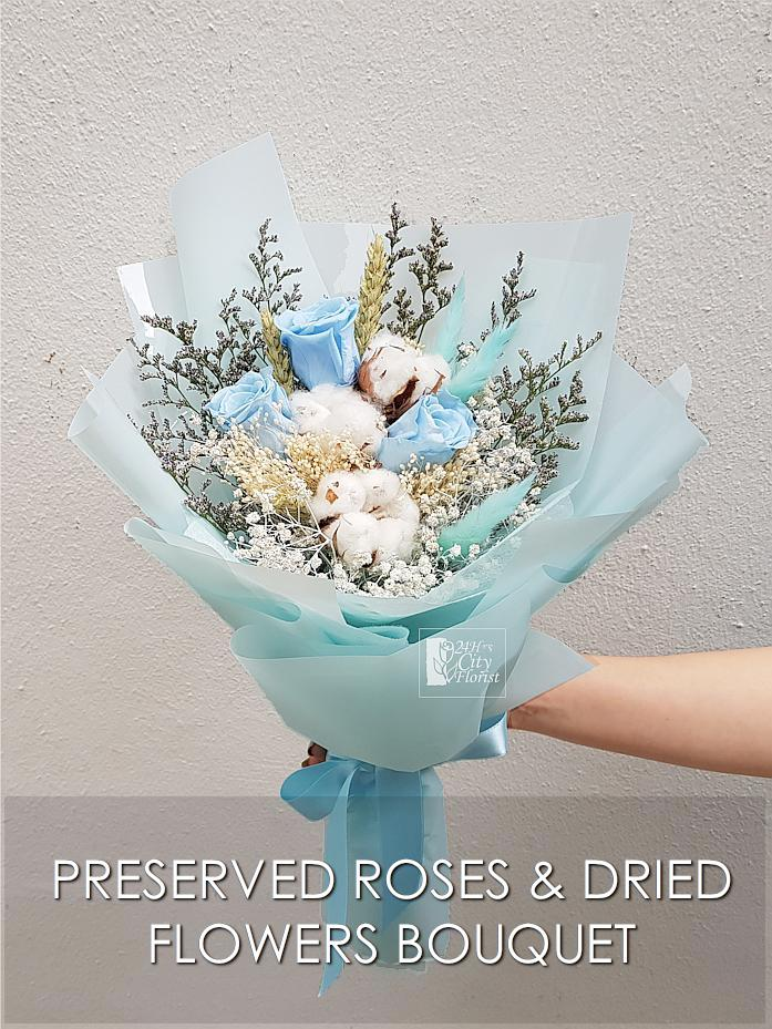 Leo Preserved  Blue Rose Bouquet