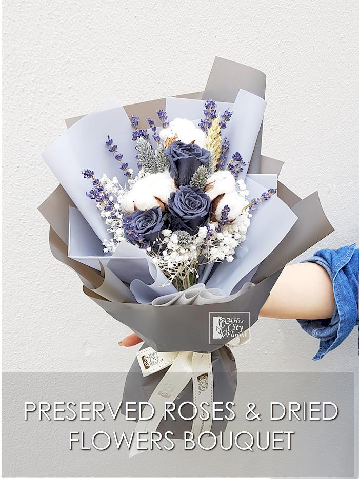 Mountain Gray Preserved  Rose Bouquet Valentine